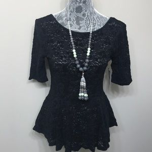 NWT Free People women's black lace top size M